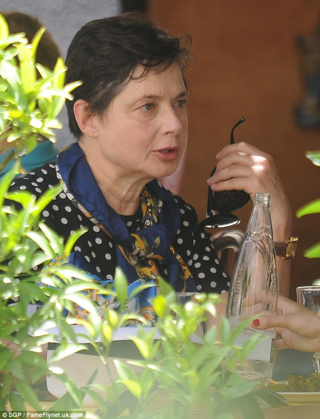 Legendary: Isabella Rossellini has been the face of the fashion label for many many years, and was seen lunching with a friend in Taromina today