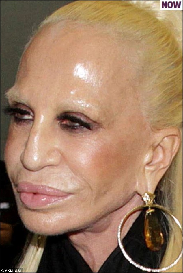 Stepping off a flight this week, Donatella is almost unrecognisable.