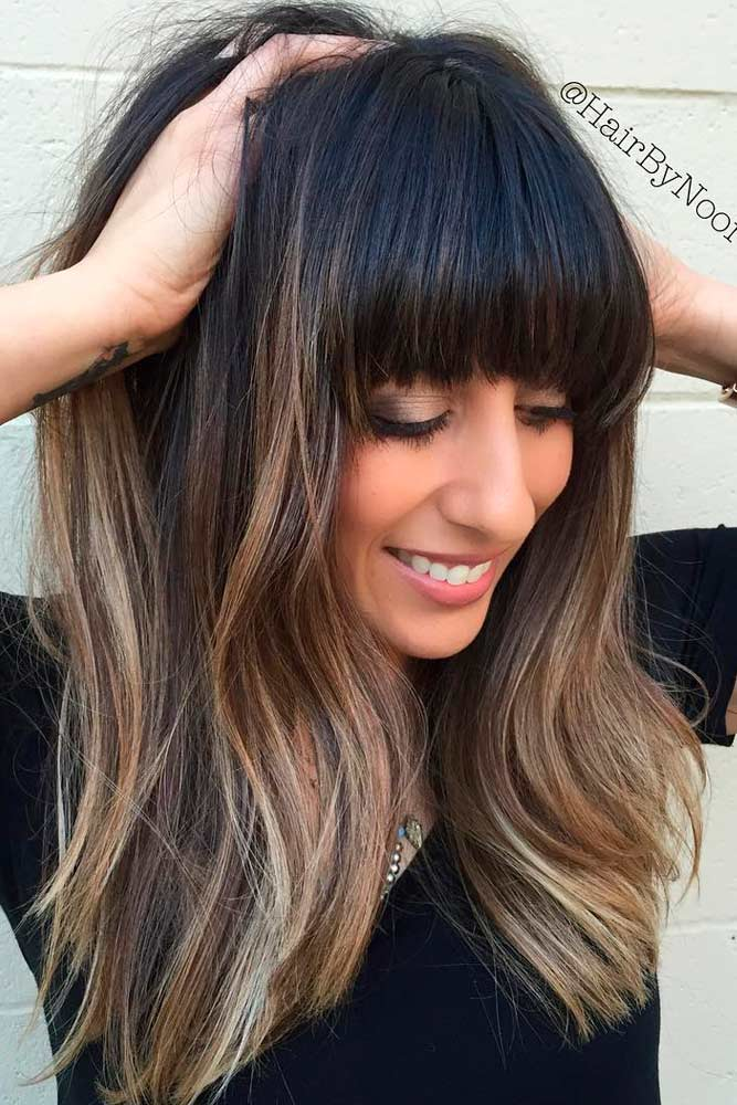 Thick Long Hairstyles With Bangs