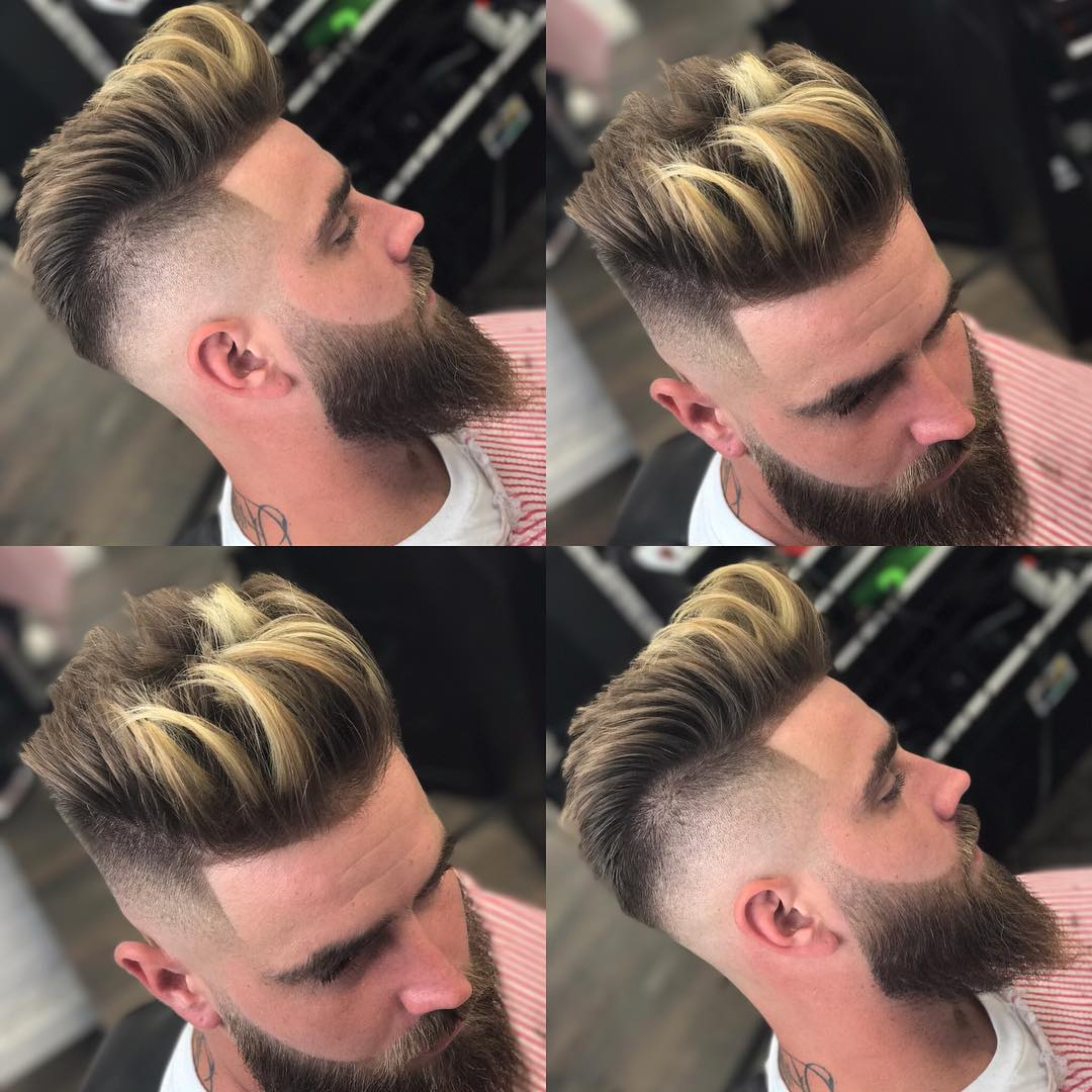 Cool high fade and long pompadour men